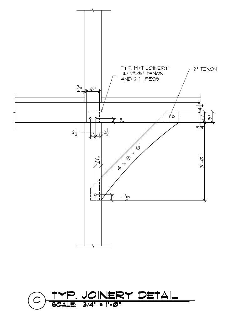 4x8 Timber Frame Knee Brace Joinery