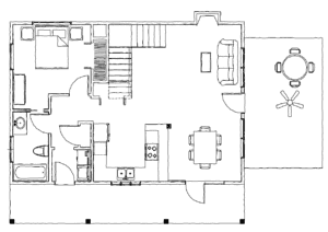 Tugaloo Cabin main level plan