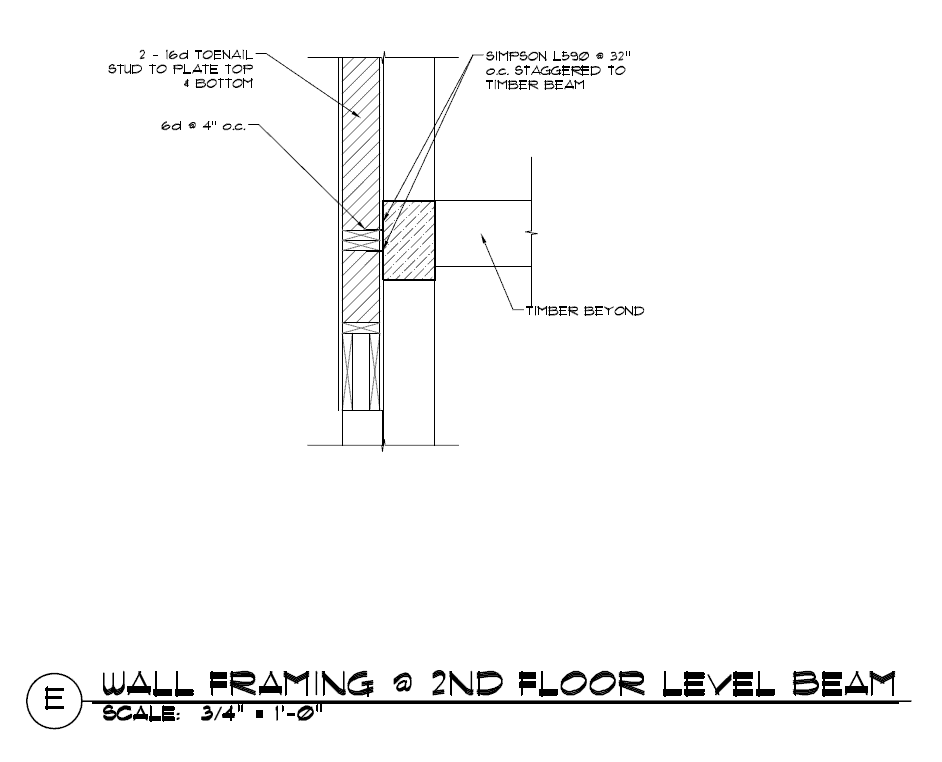 Exterior stick frame wall and timber frame beam - Exterior wall construction details ...