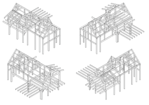 Timber Frame Isometric Construction Plans