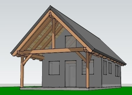 The east fork a timber frame bungalow timber frame hq for Timber frame bungalow