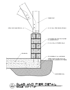 Timber Frame Post to CMU Pier Construction Detail