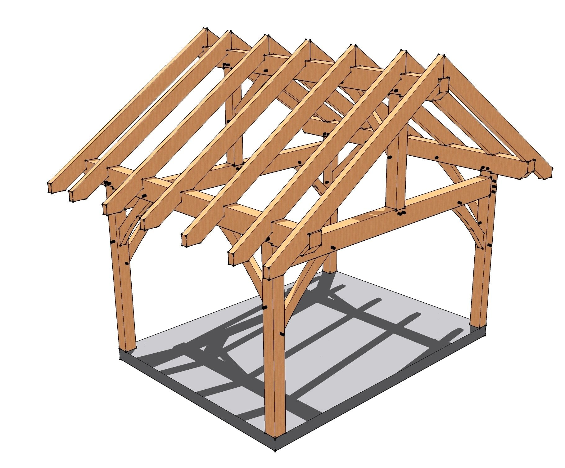 12x16 timber frame porch for Timber frame screened porch