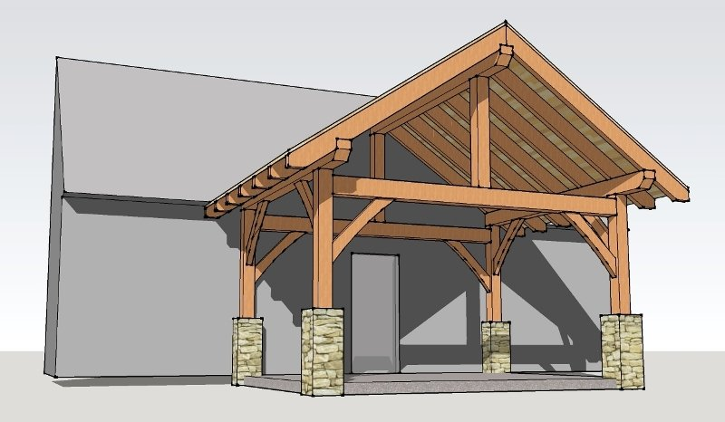 Timber log home plans timberframe over 5000 house plans for Timber frame porch designs
