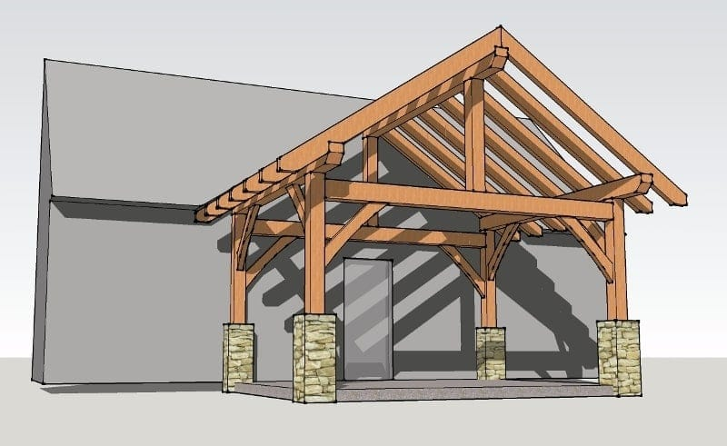 12x16 timber frame porch for Timber frame porch designs