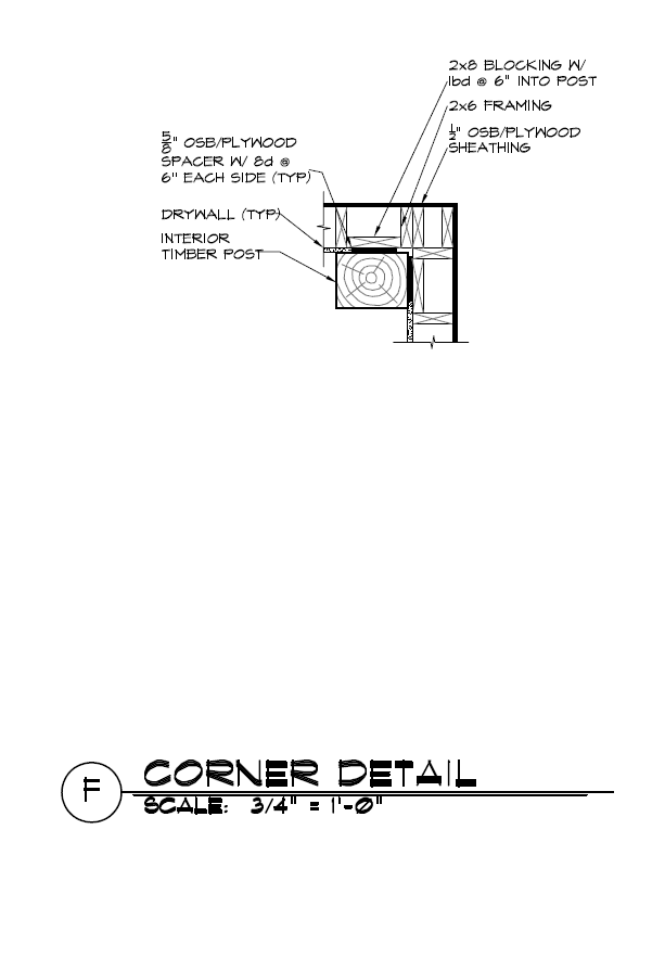 Timber Frame Post and 2x Wall Corner Construction Details