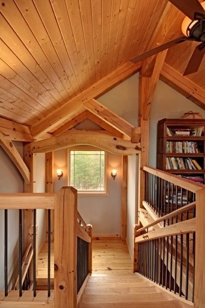 Post and Beam Stairs and Organic Truss