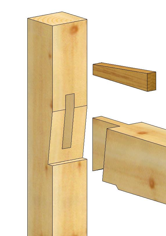 Wedged Half Dovetail Tie Beam Tenon To Post Detail