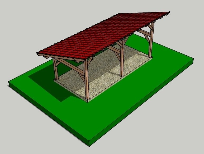 14x30 timber frame shed barn for Post and beam shed plans