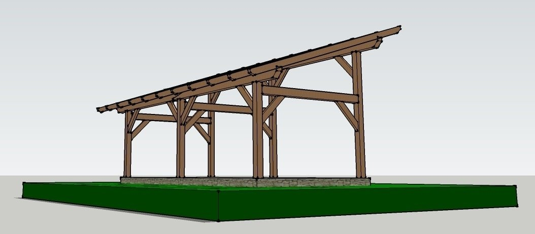 14x30 timber frame shed barn for Post and beam construction plans