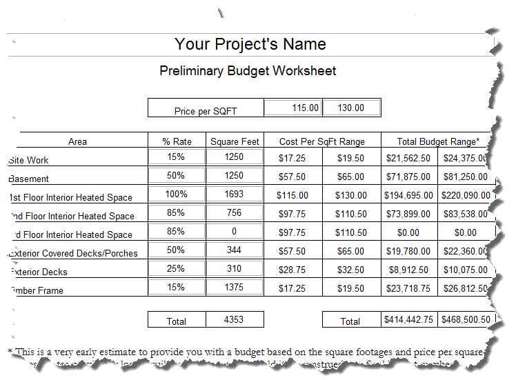 Timber Frame House Budget Worksheet