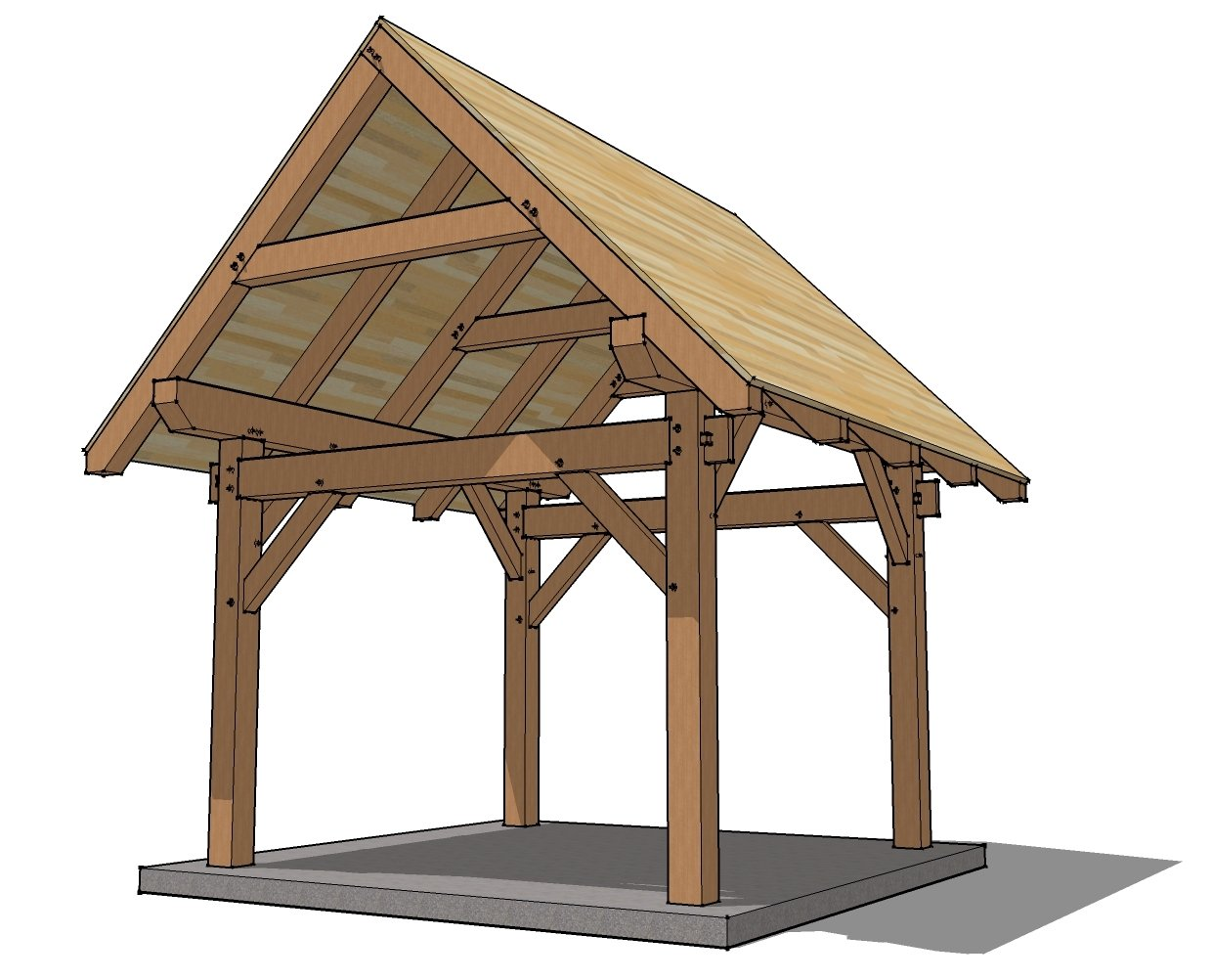 Crav guide to get free 12x12 shed plans pdf for Timber frame porch designs
