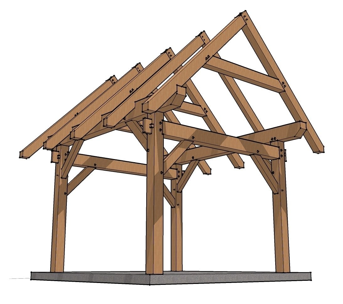 Free plans to build post and beam front porch joy studio for Post and beam shed plans