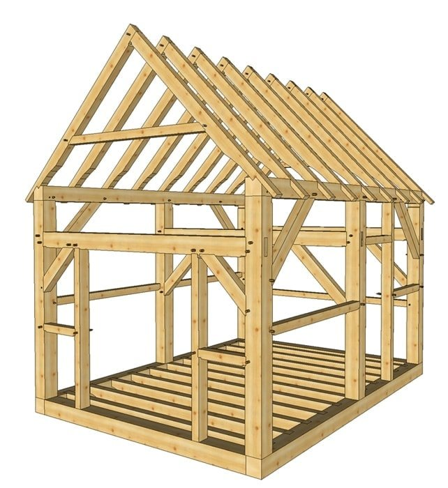 12x16 post and beam cabin timber frame hq for Post beam barn plans