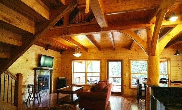 Log vs Timber Frame Great Room