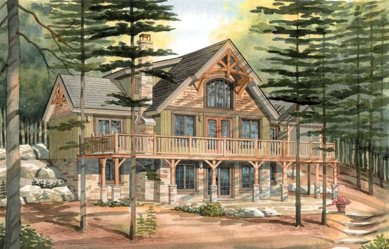 Carleton a timber frame cabin for Timber home floor plans