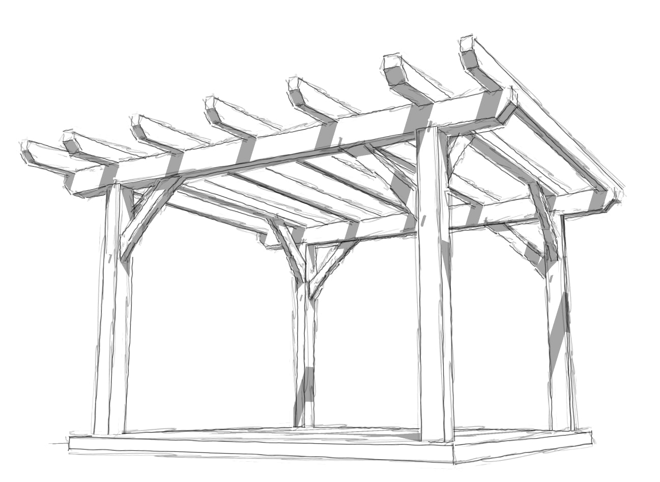 12x12 Timber Frame Pergola Plan - Timber Frame HQ