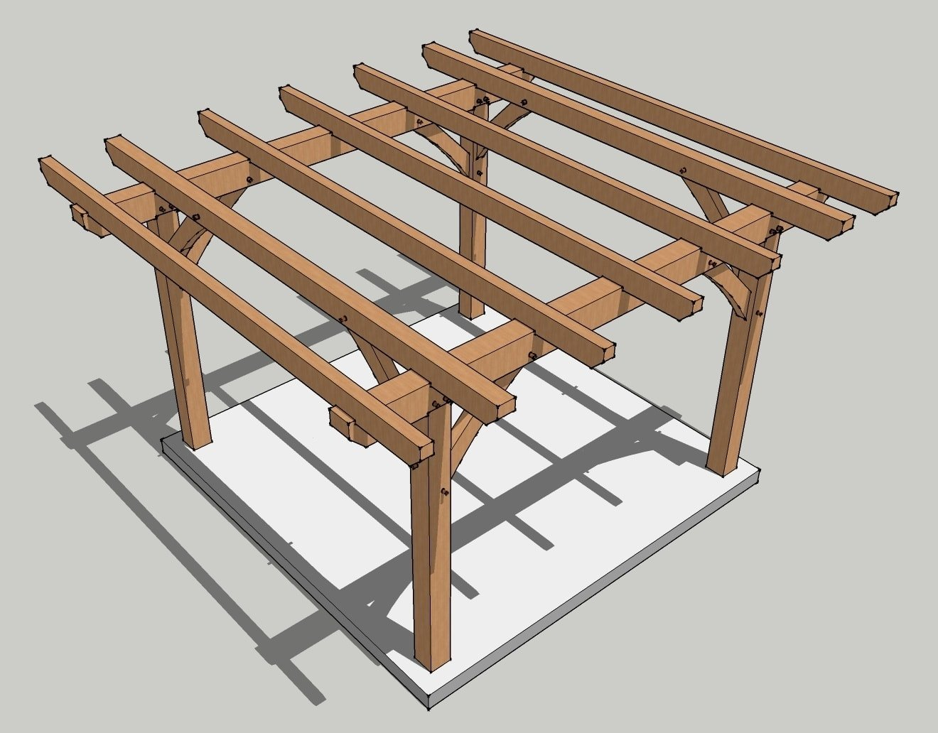 12x12 Timber Frame Pergola Plan on shed construction project framing rafters