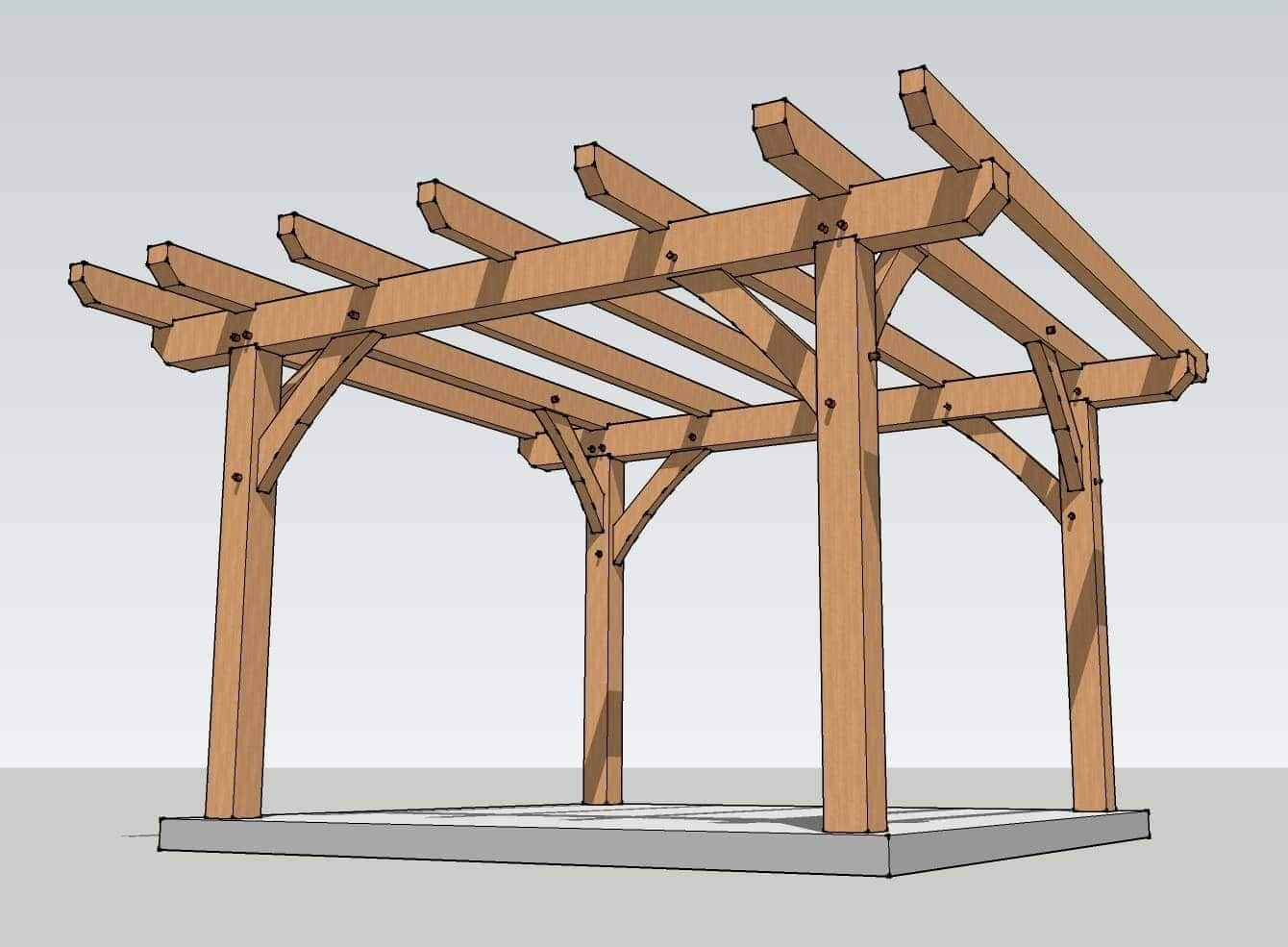 12x12 timber frame pergola plan timber frame hq for Timber frame designs