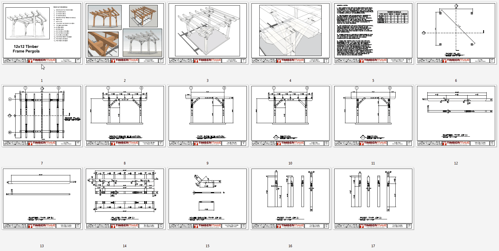 12x12 timber frame pergola plan timber frame hq for Building planning and drawing free pdf download