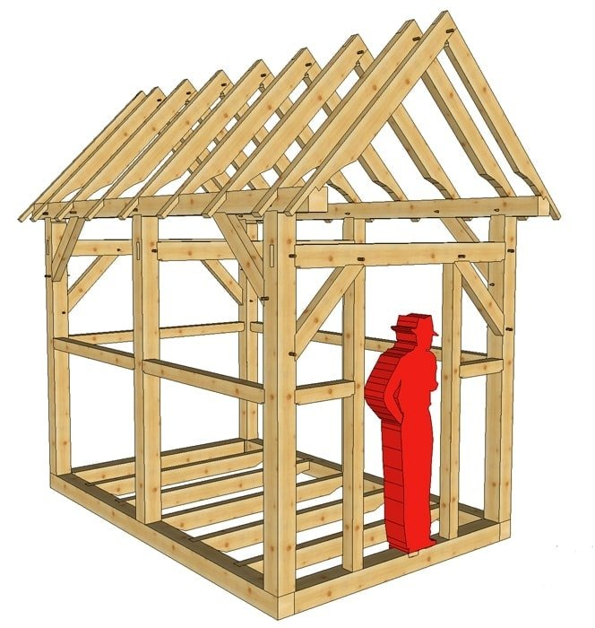 8x12 post and beam outbuilding timber frame hq for Post and beam shed plans
