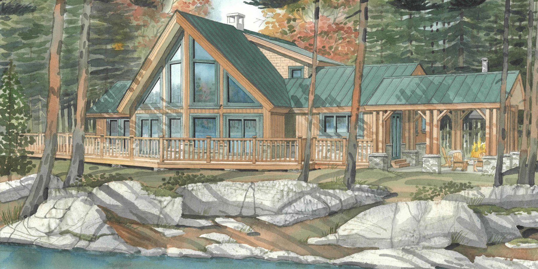 The hughes a cozy cottage timber frame hq Timber framed house plans