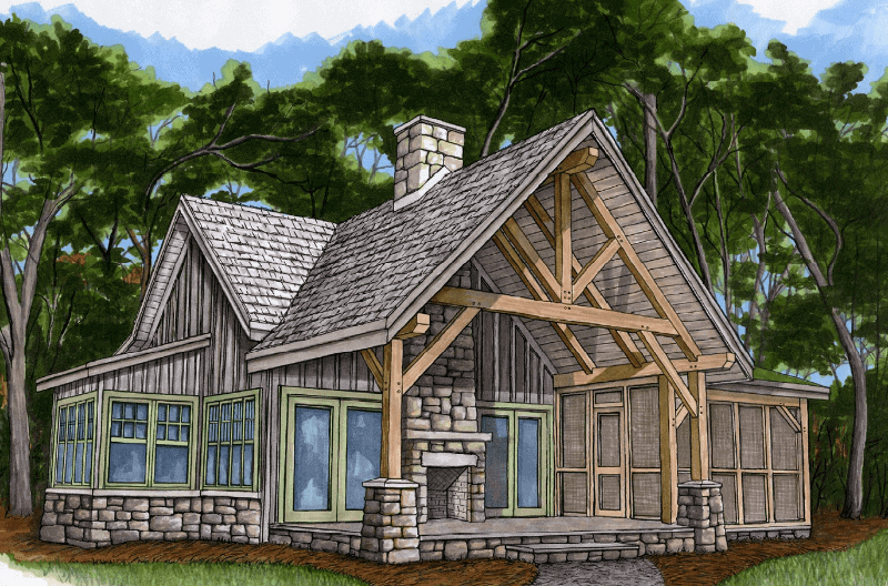 Piney creek cottage timber frame hq for Timber framed house plans