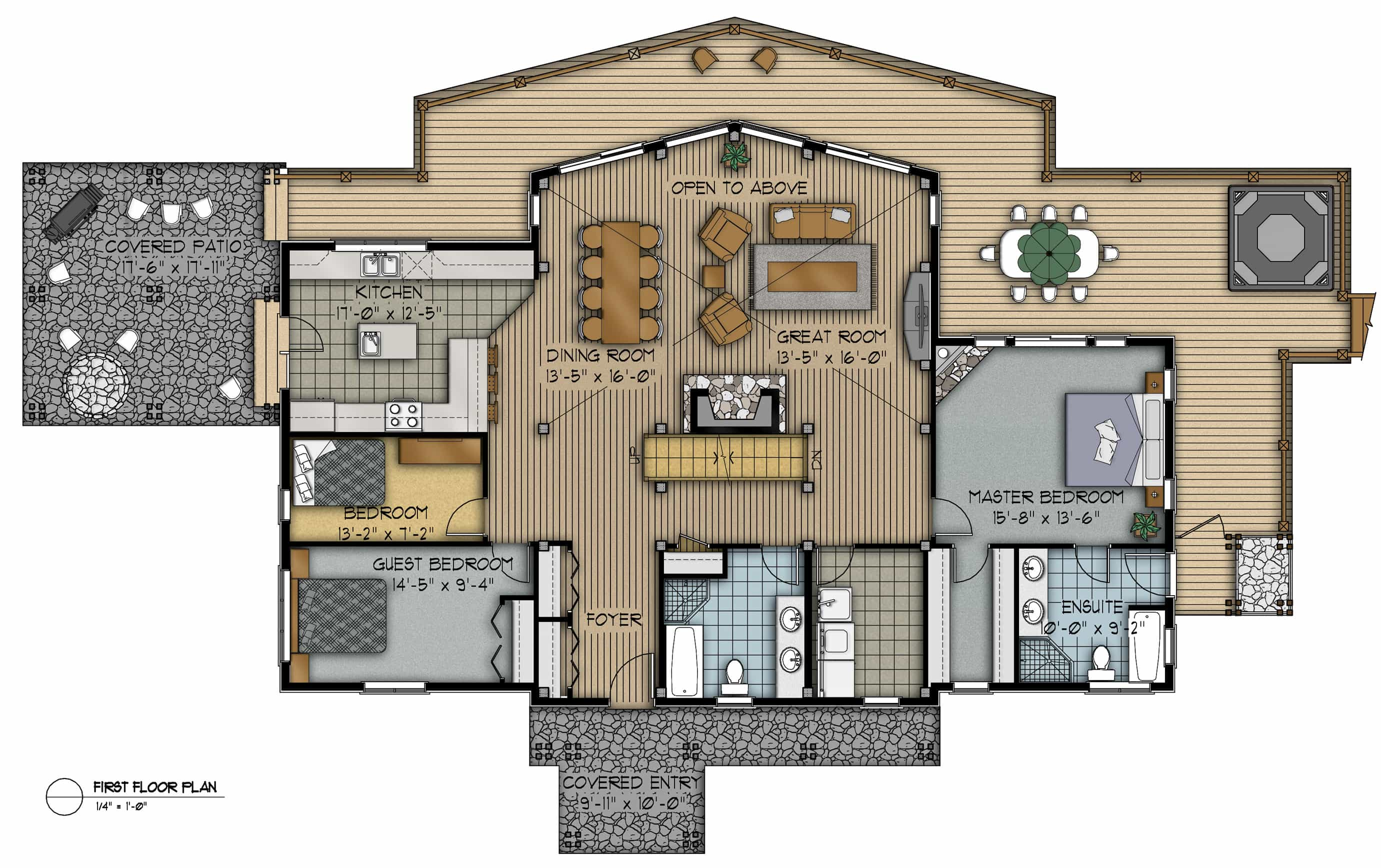 Delicieux Hughes First Floor Plan Colored