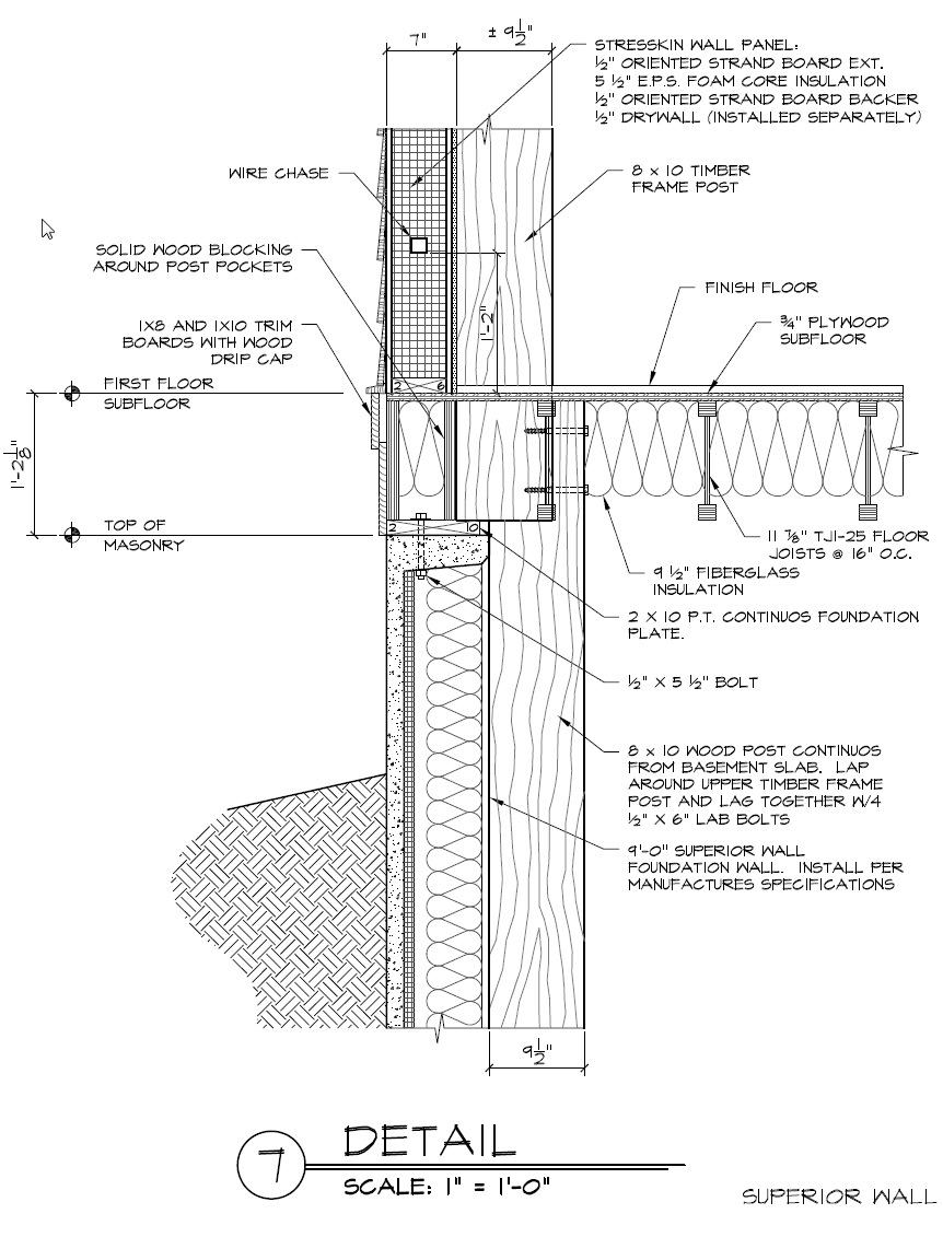 Superior Foundation Wall And Timber Frame Post Detail Schematic