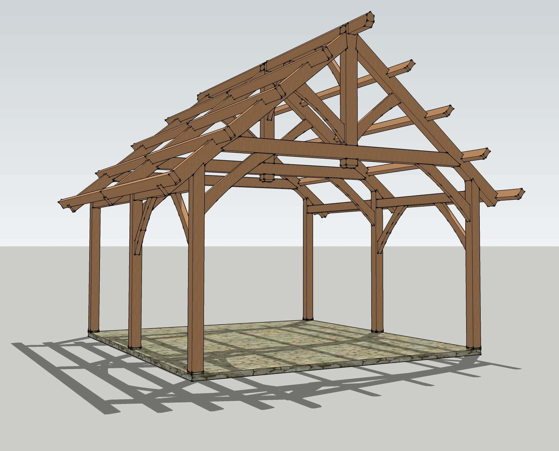 19x22 timbered pavilion timber frame hq for Frame plan