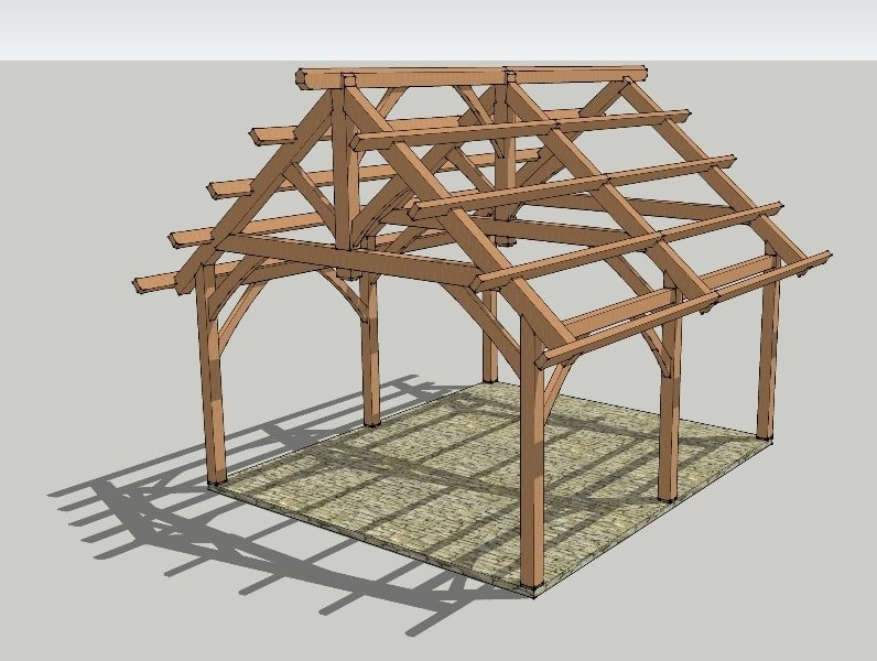 19x22 timbered pavilion timber frame hq for Post and beam shed plans