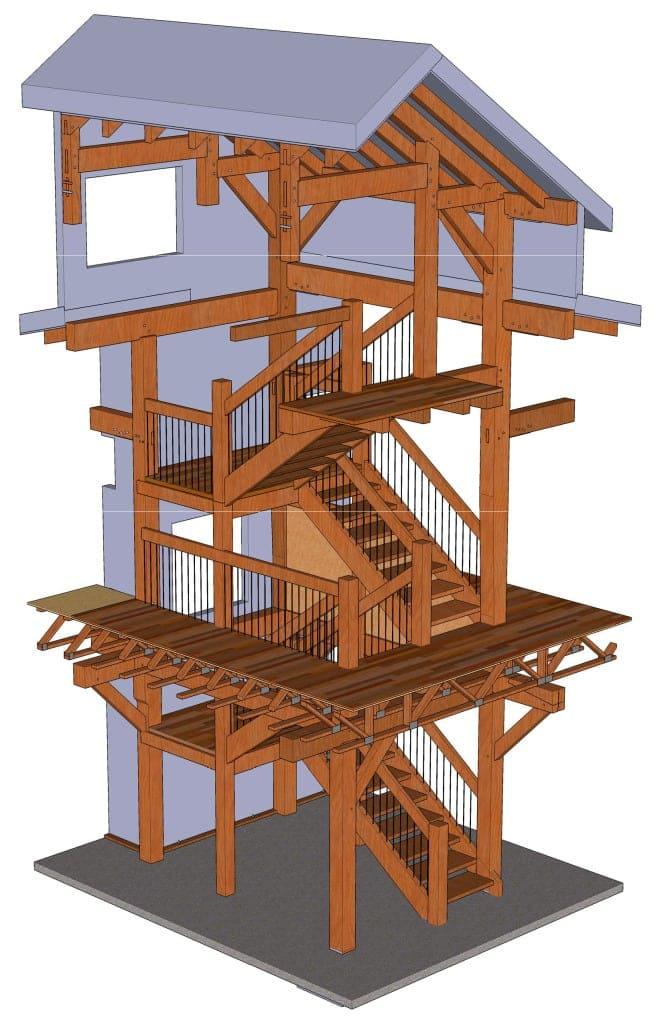 Timber Frame Stair Renderings