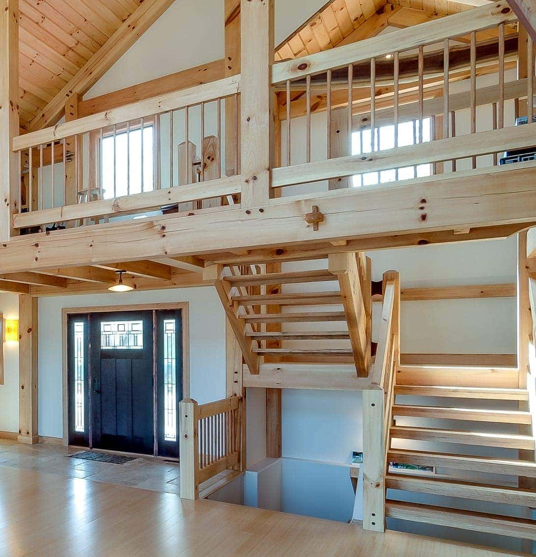 Types of timber frame stair systems timber frame hq for Beautiful a frame homes