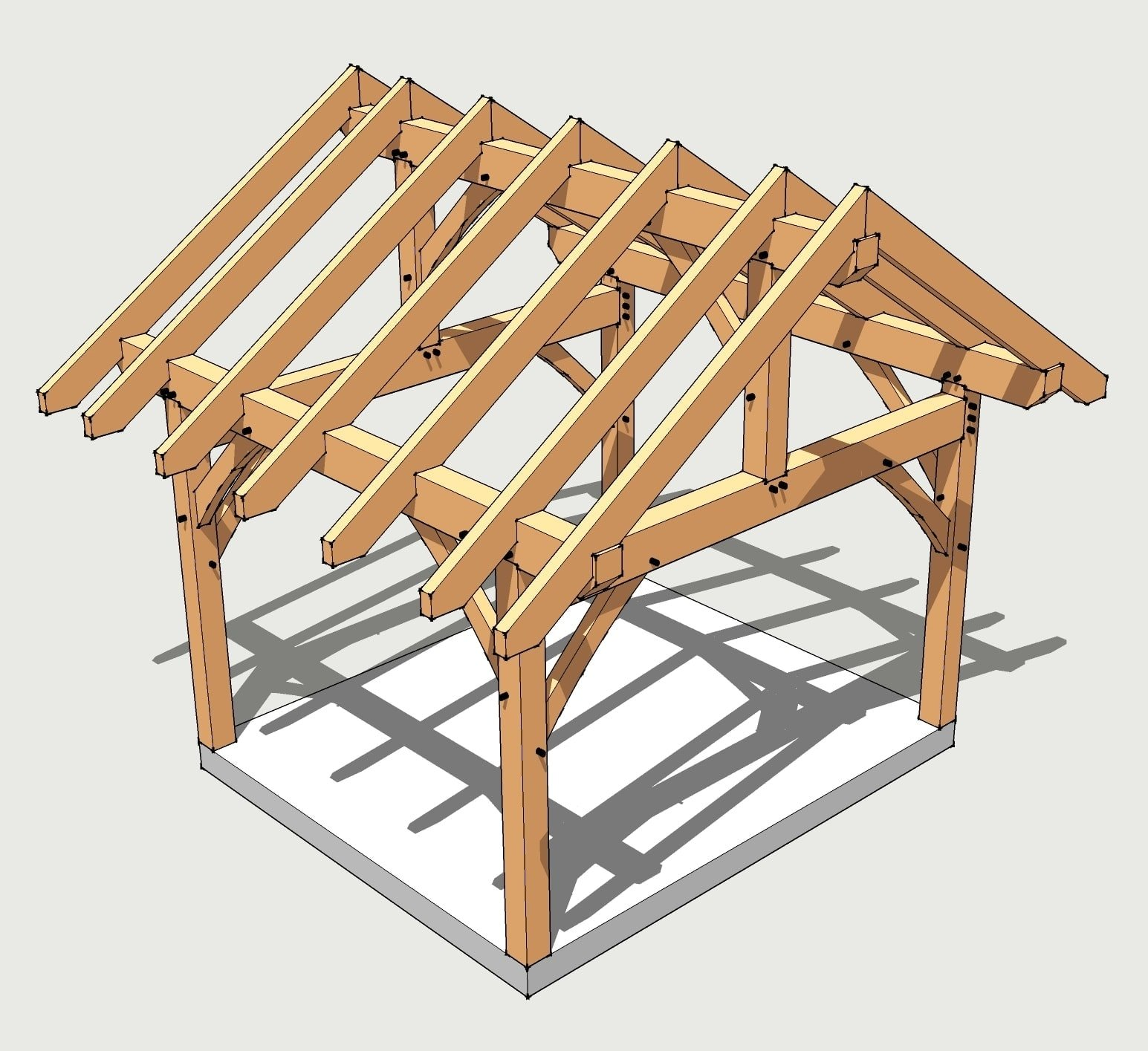 12x14 timber frame plan timber frame hq for Post beam barn plans