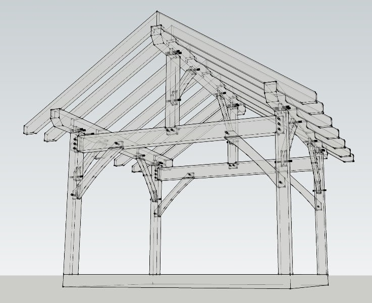 12x14 timber frame plan timber frame hq for Post and beam construction