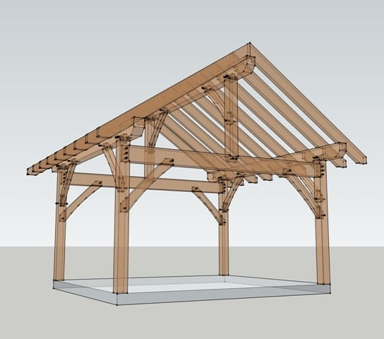 14x16 timber frame plan timber frame hq for Small timber frame plans