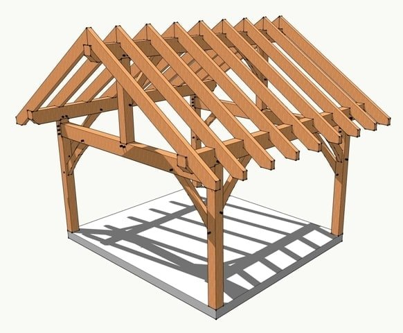 14x16 timber frame plan timber frame hq for Timber frame porch designs
