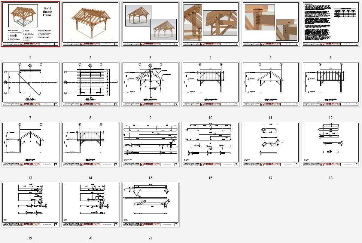 16x16 Timber Frame Plan HQ