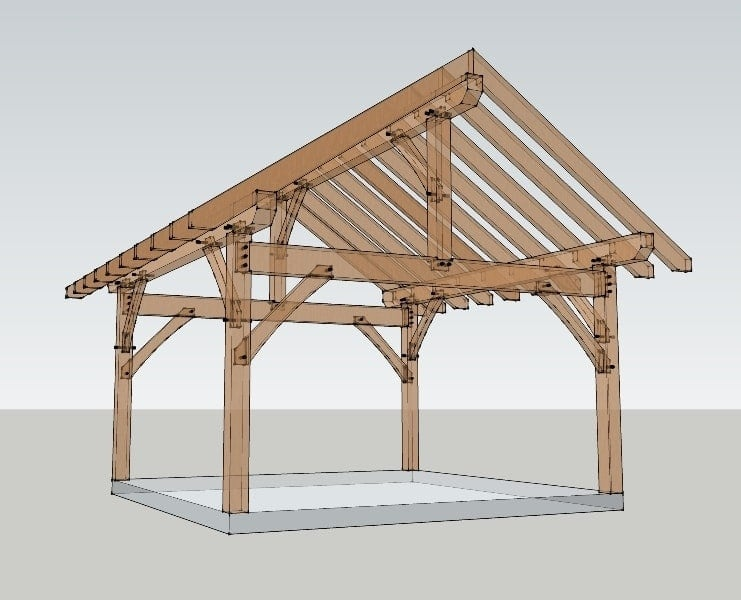 16x16 timber frame plan timber frame hq Simple timber frame house plans