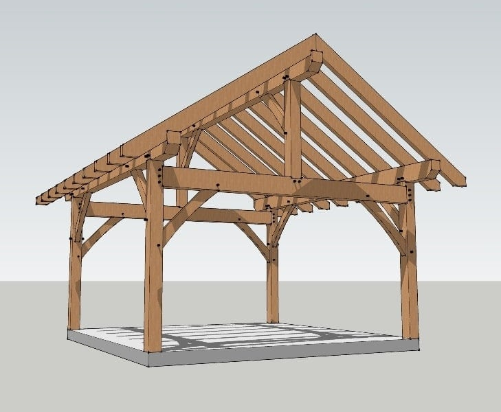 16x16 King Post Plan - Timber Frame HQ