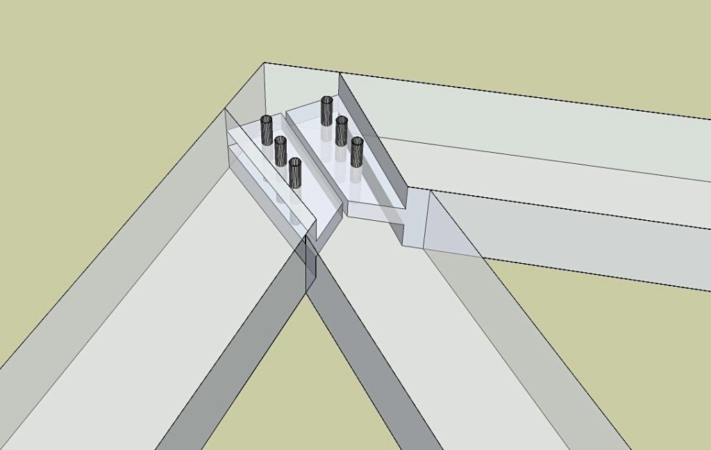 Timber Frame King Post and Rafter Connection