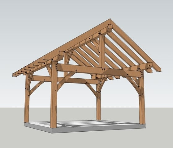 14x16 timber frame plan timber frame hq Pavilion style house plans