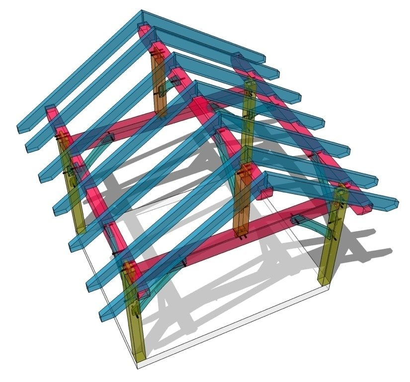 12x14 King Post Plan - Timber Frame HQ