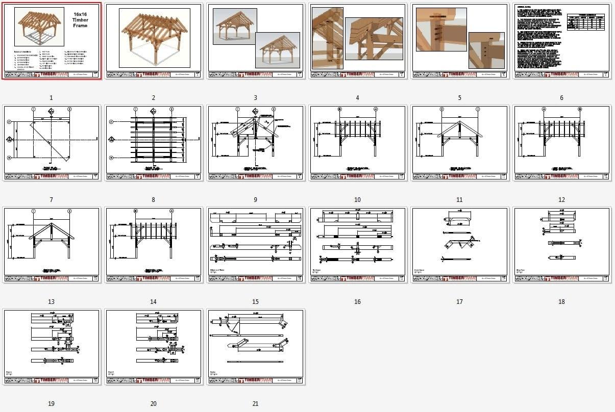 16x16 King Post Plan Timber Frame Hq