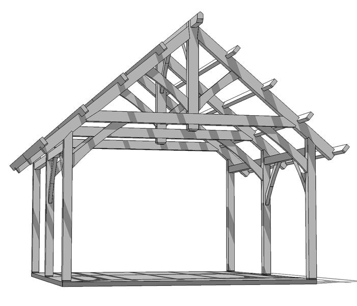 19x22 King Post Plan Timber Frame Hq