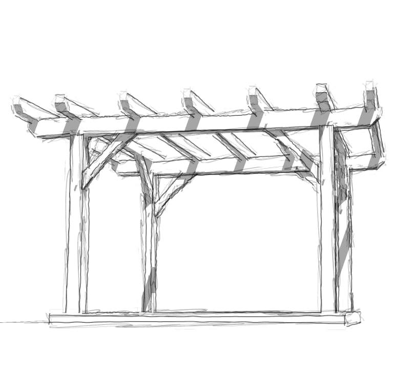 12x12 pergola plan timber frame hq for Gazebo dwg