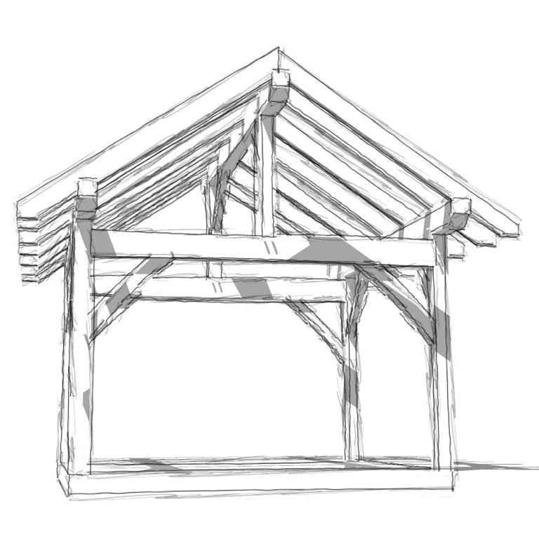 Pergola Elevation Designs: 12x14 King Post Plan