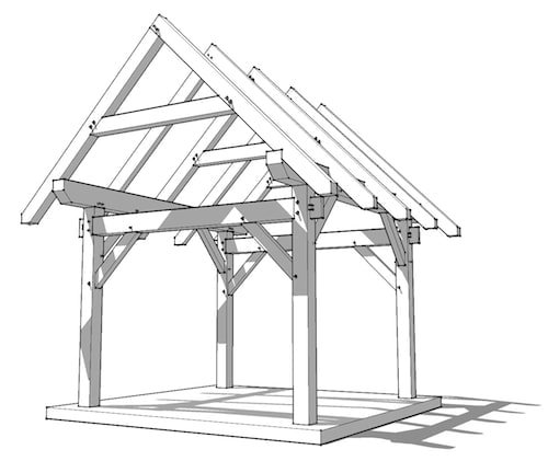 12x12 timber frame timber frame hq for Post and beam shop plans