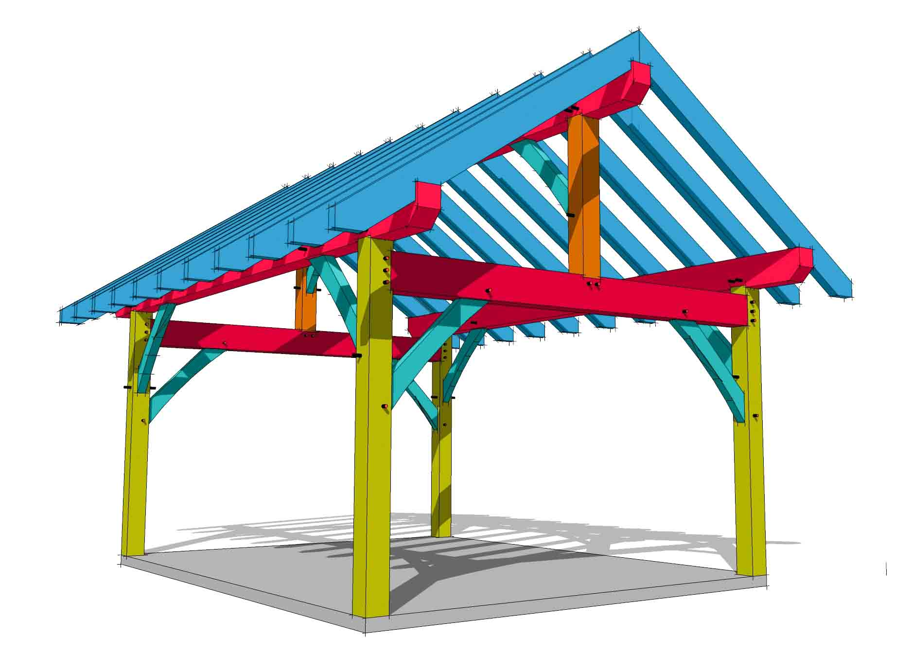 14x18 King Post Timber Frame Hq