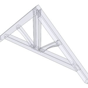 Isometric of Timber Frame King Post
